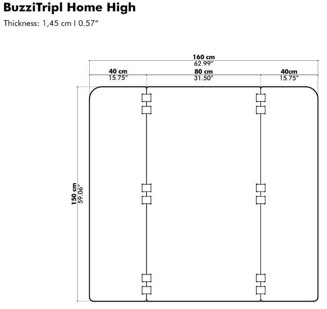 BuzziTripl Home High dimensions